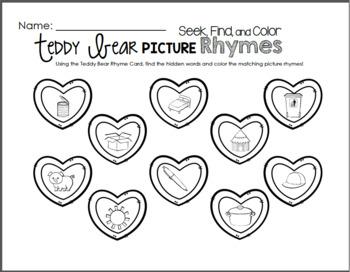 Teddy Bear Valentine CVC Rhymes - Grammar Pack