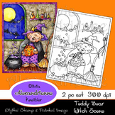 Teddy Bear Witch Scene Digital Stamp and Hand Painted Version