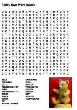 Teddy Bear Word Search