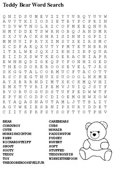 Teddy Bear Word Search and Label the Teddy