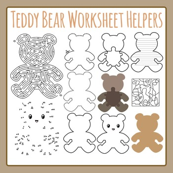 Teddy Bear Worksheet Helpers Commercial Use Clip Art Pack
