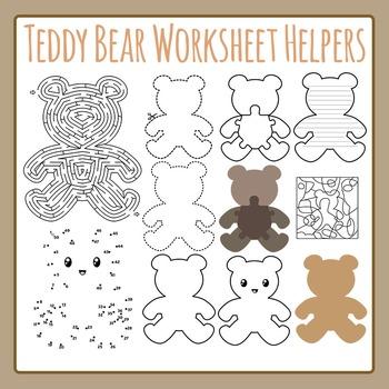 Teddy Bear Worksheet Helpers Commercial Use Clip Art Pack