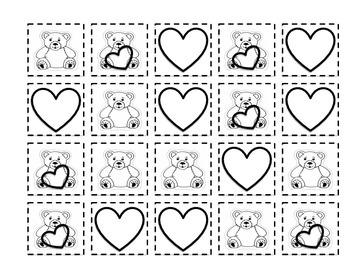 Teddy Bear and Hearts Venn Diagram - Cut Out and Sort