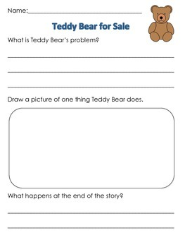 Teddy Bear for Sale After Reading Worksheet