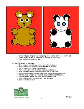 Teddy Bear or Panda Collage: Visual Art Lesson for k and 1st Grade