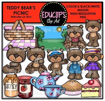 Teddy Bear's Picnic Clip Art Bundle {Educlips Clipart}