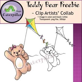 Teddy Bear with Kite Clip Art - Free