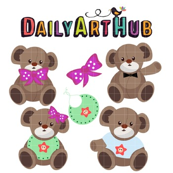 Teddy Bears Clip Art - Great for Art Class Projects!