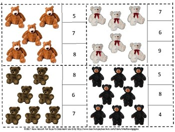 Teddy Bears Count Clip Cards, Special Education Math, Preschool Math Autism
