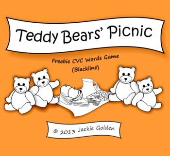 Teddy Bears' Picnic: Freebie CVC Words Game (Blackline)