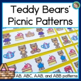Teddy Bears' Picnic Patterns Math Center with AB, ABC, AAB & ABB patterns