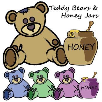 Teddy Bears and Honey Jars Clipart