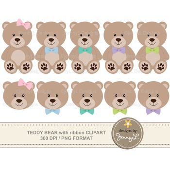 Teddy Bears with Bows / Ribbons Clipart
