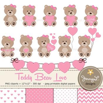 SET: Teddy Bears with Hearts Clipart, Valentine Teddy Bear