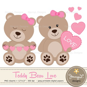 SET: Teddy Bears with Hearts Clipart, Valentine Teddy Bear