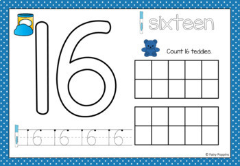 Teddy Counting Mats - Numbers 0 to 20