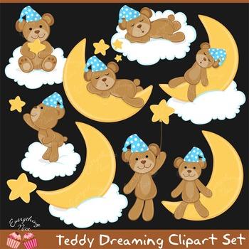 Teddy Dreaming Clip Art Set