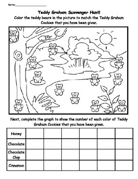 """Teddy Graham Scavenger Hunt - A """"Find and Color"""" Counting and Graphing Activity"""