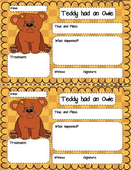 Teddy Had a owie gram