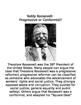 Teddy Roosevelt Document Based Question: Conformist or Progressive
