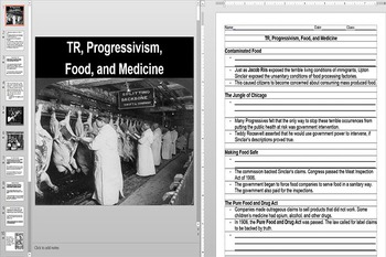 Teddy Roosevelt, The Jungle, and Progressive Regulation Powerpoint AND Worksheet