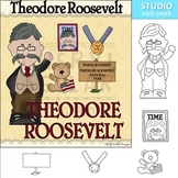 Teddy Roosevelt color and line drawings clip art C. Seslar