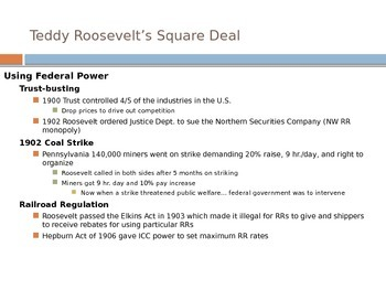 Teddy Roosevelt's Square Deal