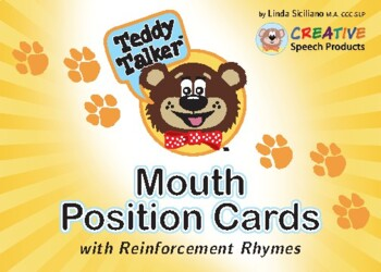 Speech Sounds:  Teddy Talker Mouth Position Cards w. Reinforcement Rhymes