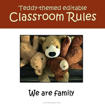 Teddy Themed Editable Classroom Rules Posters