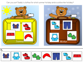 Teddy's Holiday Clothes Sorting Activities