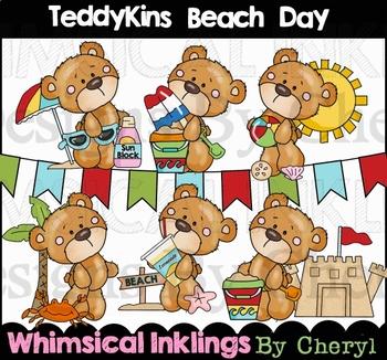 Teddykins Beach Day Clipart Collection