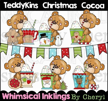 Teddykins Christmas Cocoa Clipart Collection