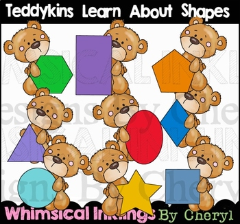 Teddykins Learn About Shapes Clipart Collection