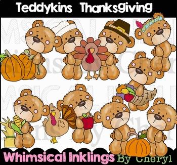Teddykins Thanksgiving Clipart Collection