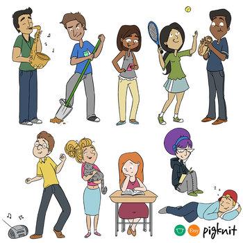 Teen Action Verbs Clipart | Set of 10 Highschool Students