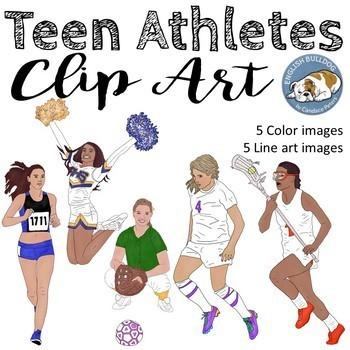 Teen Athletes Clip Art Set--Girls