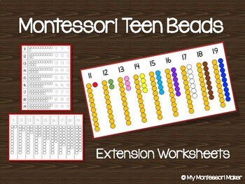 Teen Bead Montessori Math Worksheet