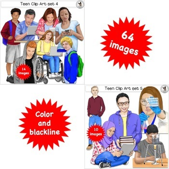 Teen Clip Art GROWING BUNDLE pre-sale featuring older realistic looking kids