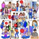 Teen Clip Art GROWING BUNDLE pre-sale older realistic looking kids 40 images