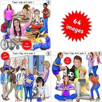 Teen Clip Art BUNDLE! Realistic teenager clip art.
