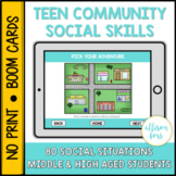 Teen Community Themed Social Skills BOOM Cards™️ Distance