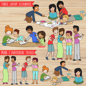 Teen Groups Clipart | High School Students Working Together