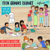 Teen Working in Groups Clipart | Secondary Teens Working Together