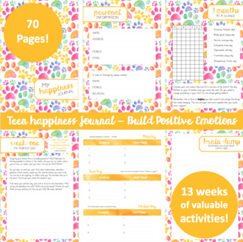 Teen Happiness Journal - 13 weeks of lessons based on Positive Psychology!