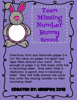 Teen Missing Number Bunny Scoot