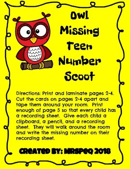 Teen Missing Number Owl Scoot