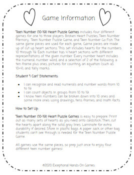 Teen Number (10-19) Heart Puzzle Games