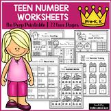 Teen Number Interactive Worksheets (Pre-K, Kindergarten)