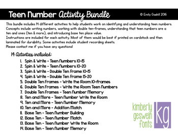 Teen Number Activity Bundle (10 and more, Base Ten, Double