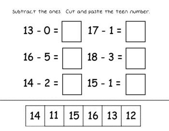 Teen Number Addition and Subtraction Cut and Paste